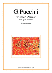 Cover icon of Nessun Dorma, from the opera Turandot sheet music for tenor and piano by Giacomo Puccini, classical score, intermediate