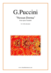 Cover icon of Nessun Dorma, from the opera Turandot sheet music for violin and piano by Giacomo Puccini, classical score, easy