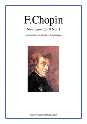 Cover icon of Nocturne Op.9 No.1 sheet music for clarinet and piano by Frederic Chopin, classical score, intermediate/advanced skill level