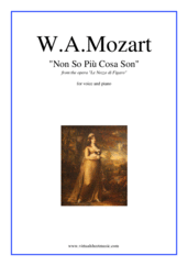 Cover icon of Non so piu cosa son, Aria sheet music for voice and piano by Wolfgang Amadeus Mozart, classical score, easy/intermediate