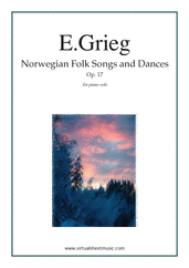 Cover icon of Norwegian Folk Songs and Dances sheet music for piano solo by Edward Grieg, classical score, intermediate skill level