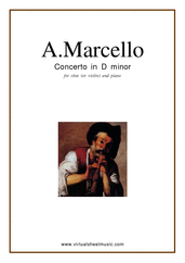 Cover icon of Concerto in D minor sheet music for oboe (or violin/flute) and piano by Alessandro Marcello, classical score, intermediate skill level