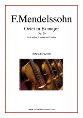 Cover icon of Octet in Eb major Op. 20 (parts) sheet music for strings by Felix Mendelssohn-Bartholdy, classical score, intermediate/advanced skill level