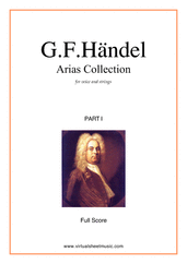 Cover icon of Arias Collection, part I (f.score) sheet music for voice and strings by George Frideric Handel, classical score, intermediate orchestra