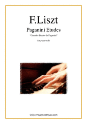 Cover icon of Paganini Etudes sheet music for piano solo by Franz Liszt, classical score, advanced skill level