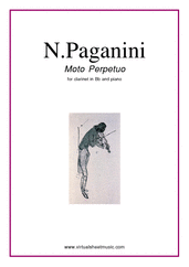 Cover icon of Moto Perpetuo sheet music for clarinet and piano by Nicolo Paganini, classical score, intermediate skill level