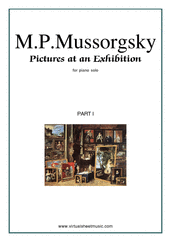 Cover icon of Pictures at an Exhibition, part I sheet music for piano solo by Modest Petrovic Mussorgsky, classical score, intermediate/advanced piano