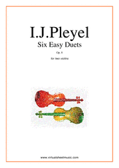 Cover icon of Six Easy Duets Op.8 sheet music for two violins by Ignaz Joseph Pleyel, classical score, easy duet