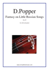 Cover icon of Fantasy on Little Russian Songs Op.43 sheet music for cello and piano by David Popper, classical score, advanced skill level
