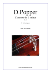 Cover icon of Concerto in E minor Op.24, 1st movement sheet music for cello and piano by David Popper, classical score, advanced