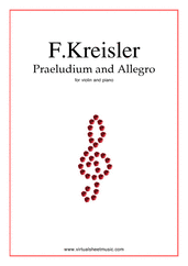 Cover icon of Praeludium and Allegro, in the style of G.Pugnani sheet music for violin and piano by Fritz Kreisler, classical score, intermediate/advanced skill level
