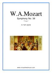 "Cover icon of Symphony No.38, ""Prague"" sheet music for orchestra by Wolfgang Amadeus Mozart, classical score, intermediate"