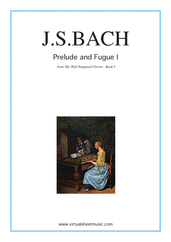 Prelude and Fugue I - Book I for piano solo (or harpsichord) - johann sebastian bach harpsichord sheet music