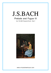 Cover icon of Prelude and Fugue III - Book I sheet music for piano solo (or harpsichord) by Johann Sebastian Bach, classical score, intermediate piano (or harpsichord)