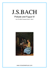 Cover icon of Prelude and Fugue IV - Book I sheet music for piano solo (or harpsichord) by Johann Sebastian Bach, classical score, intermediate piano (or harpsichord)