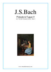 Cover icon of Prelude and Fugue V - Book II sheet music for piano solo (or harpsichord) by Johann Sebastian Bach, classical score, intermediate piano (or harpsichord)