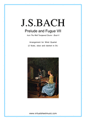 Cover icon of Prelude and Fugue VII - Book II sheet music for wind quartet by Johann Sebastian Bach, classical score, intermediate