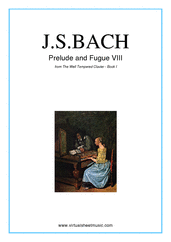 Cover icon of Prelude and Fugue VIII - Book I sheet music for piano solo (or harpsichord) by Johann Sebastian Bach, classical score, easy/intermediate piano (or harpsichord)