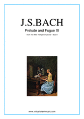 Cover icon of Prelude and Fugue XI - Book I sheet music for piano solo (or harpsichord) by Johann Sebastian Bach, classical score, easy/intermediate piano (or harpsichord)