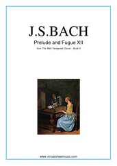 Cover icon of Prelude and Fugue XII - Book II sheet music for piano solo (or harpsichord) by Johann Sebastian Bach, classical score, intermediate piano (or harpsichord)