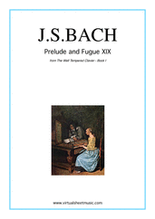 Cover icon of Prelude and Fugue XIX - Book I sheet music for piano solo (or harpsichord) by Johann Sebastian Bach, classical score, easy/intermediate piano (or harpsichord)