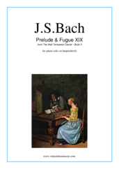 Cover icon of Prelude and Fugue XIX - Book II sheet music for piano solo (or harpsichord) by Johann Sebastian Bach, classical score, easy/intermediate piano (or harpsichord)