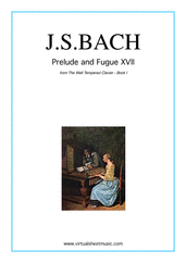 Cover icon of Prelude and Fugue XVII - Book I sheet music for piano solo (or harpsichord) by Johann Sebastian Bach, classical score, easy/intermediate piano (or harpsichord)