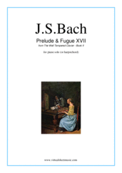 Cover icon of Prelude and Fugue XVII - Book II sheet music for piano solo (or harpsichord) by Johann Sebastian Bach, classical score, easy/intermediate piano (or harpsichord)