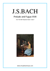 Cover icon of Prelude and Fugue XVIII - Book I sheet music for piano solo (or harpsichord) by Johann Sebastian Bach, classical score, easy/intermediate piano (or harpsichord)