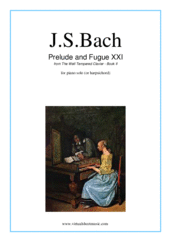 Cover icon of Prelude and Fugue XXI - Book II sheet music for piano solo (or harpsichord) by Johann Sebastian Bach, classical score, easy/intermediate piano (or harpsichord)