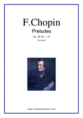 Cover icon of Preludes Op.28 No.1-12 sheet music for piano solo by Frederic Chopin, classical score, intermediate/advanced piano
