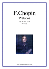 Cover icon of Preludes Op.28 No.13-24 sheet music for piano solo by Frederic Chopin