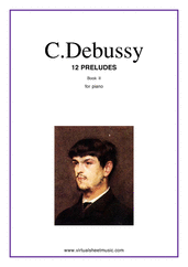 Cover icon of Preludes, book II sheet music for piano solo by Claude Debussy, classical score, advanced skill level