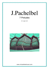 Cover icon of Preludes, 7 sheet music for organ solo by Johann Pachelbel, classical score, intermediate/advanced skill level