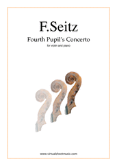Cover icon of Fourth Pupil's Concerto in D major Op.15 sheet music for violin and piano by Friedrich Seitz, classical score, intermediate/advanced skill level