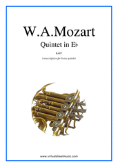 Cover icon of Quintet in Eb K407 (parts) sheet music for brass quintet by Wolfgang Amadeus Mozart, classical score, intermediate/advanced
