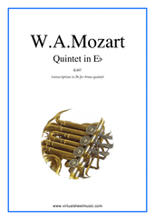Cover icon of Quintet in Eb K407, transcr. in Bb (parts) sheet music for brass quintet by Wolfgang Amadeus Mozart, classical score, intermediate/advanced skill level