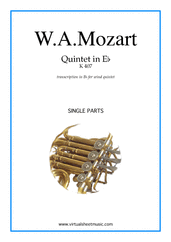 Cover icon of Quintet in Eb K407 (parts) sheet music for wind quintet by Wolfgang Amadeus Mozart, classical score, intermediate/advanced skill level