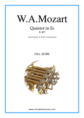 Quintet in Eb K407 (COMPLETE) for wind quintet - intermediate wind quintet sheet music