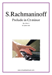 Cover icon of Prelude in C# minor Op.3 No.2 sheet music for piano solo by Serjeij Rachmaninoff, classical score, advanced piano