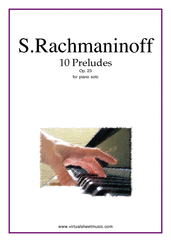 Cover icon of Preludes Op.23 (10) sheet music for piano solo by Serjeij Rachmaninoff, classical score, advanced skill level