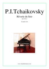 Cover icon of Reverie du Soir Op.19 No.1 sheet music for piano solo by Pyotr Ilyich Tchaikovsky, classical score, intermediate/advanced skill level
