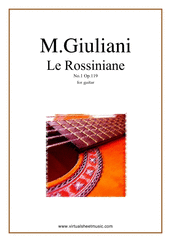 Cover icon of Le Rossiniane No.1, Op.119 sheet music for guitar solo by Mauro Giuliani, classical score, intermediate/advanced