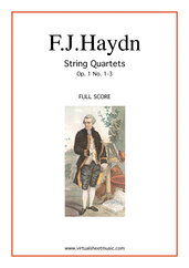 Cover icon of String Quartets Op.1 No.1-3 (f.score) sheet music for string quartet by Franz Joseph Haydn, classical score, intermediate string quartet