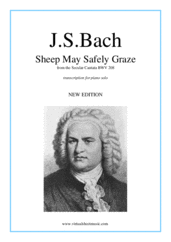 Cover icon of Sheep May Safely Graze sheet music for piano solo by Johann Sebastian Bach, classical wedding score, intermediate skill level
