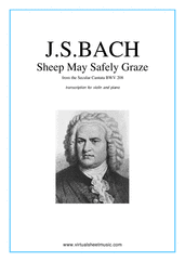 Cover icon of Sheep May Safely Graze sheet music for violin and piano by Johann Sebastian Bach, classical wedding score, easy skill level
