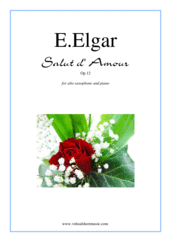 Cover icon of Salut d' Amour Op.12 sheet music for alto saxophone and piano by Edward Elgar, classical score, intermediate