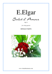 Cover icon of Salut d' Amour Op.12 (parts) sheet music for string quartet by Edward Elgar, classical score, intermediate skill level