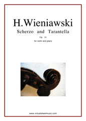 Cover icon of Scherzo and Tarantella Op.16 sheet music for violin and piano by Henry Wieniawski, classical score, advanced