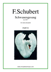 Cover icon of Schwanengesang D.957 (part II) sheet music for voice and piano by Franz Schubert, classical score, intermediate